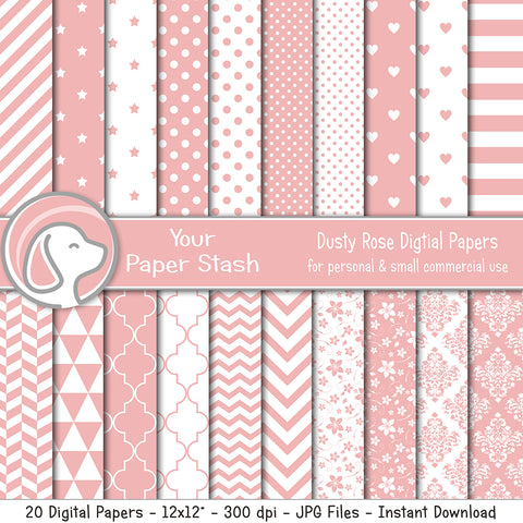 Dusty Rose Digital Scrapbooking Papers & Backgrounds, Pink Baby Digital Paper Pack with Hearts Stripes Stars and Chevrons