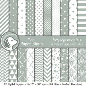 Sage Green Digital Scrapbook Papers and Backgrounds for Creating Cards Invitations and Scrapbooking Pages, Wedding Digital Papers