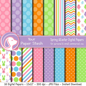 Spring & Easter Digital Scrapbook Papers With Bunny Rabbits & Chicks, Bright Easter Scrapbooking Papers