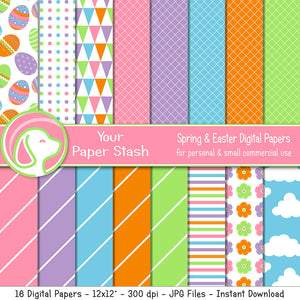 Bright Spring & Easter Digital Papers, Easter Egg Scrapbooking Papers, Cloud Digital Backgrounds, Striped Digital Paper