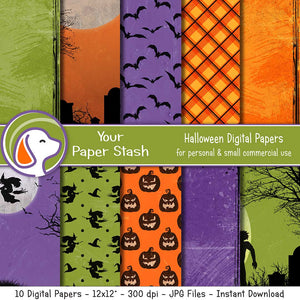 Spooky Halloween Digital Scrapbook Paper w/ Distressed Texture