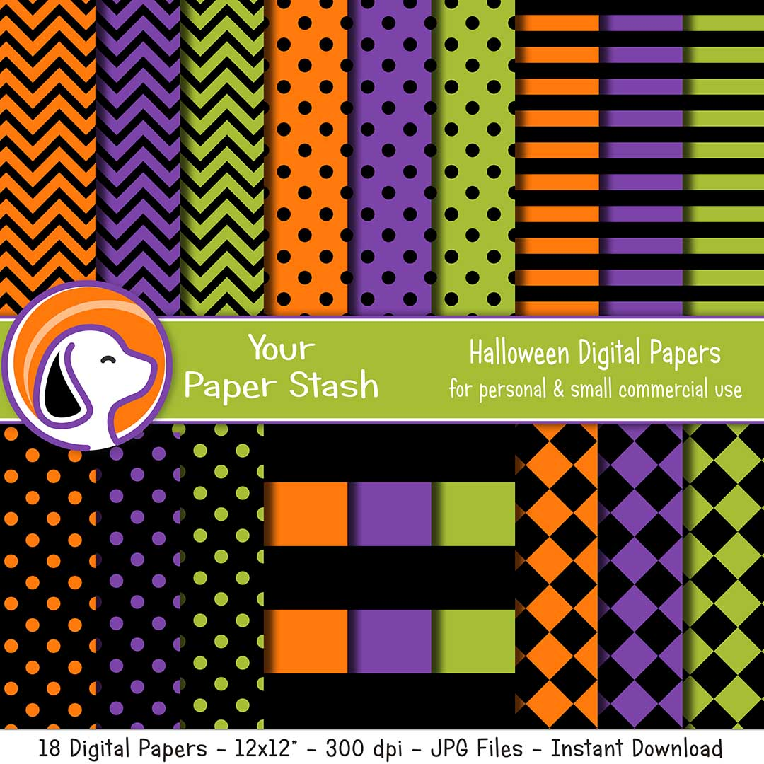 Hallowen Digital Scrapbook Papers in Orange Purple & Green
