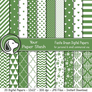 Fiesta Green Digital Scrapbook Papers w/ Floral Designs, Green Polka Dot Stripe Chevron and Star Scrapbook Papers