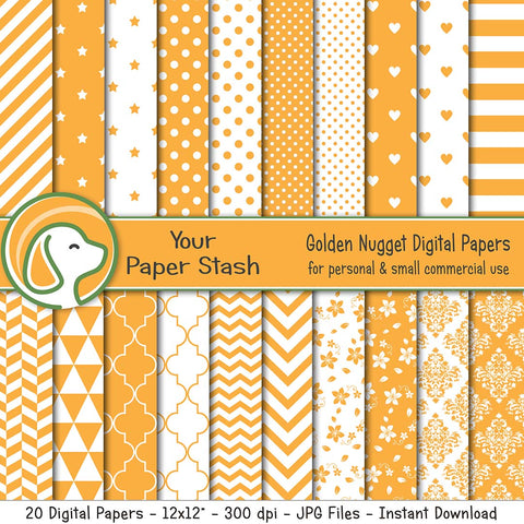 Golden Yellow Digital Scrapbooking Papers w/ Stars Hearts Polka Dots Stripes & Chevron Patterns, Summer Digital Paper Pack w/ Yellow Stars