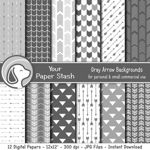 Gray Arrow Digital Paper Pack for Father's Day and Birthday Scrapbook Pages, Masculine Hunting Digital Paper With Arrow Backgrounds