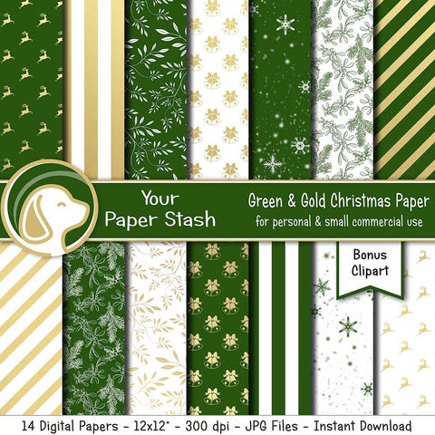 green and gold christmas digital papers