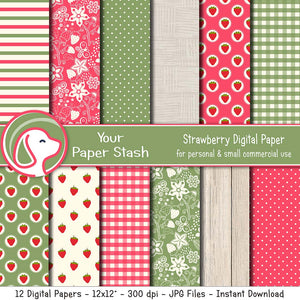 Strawberry Digital Scrapbooking Papers, Summer Berry Digital Paper Pack With Gingham Floral & Striped Patterns