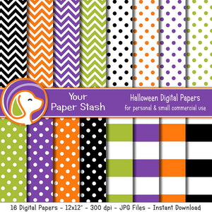 halloween digital scrapbook paper pack wide stripes polka dots chevrons lime green orange black purple