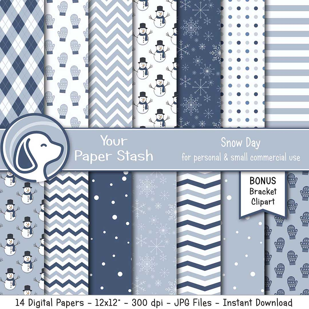 Winter Snow Day & Snowman Digital Scrapbook Papers and Backgrounds