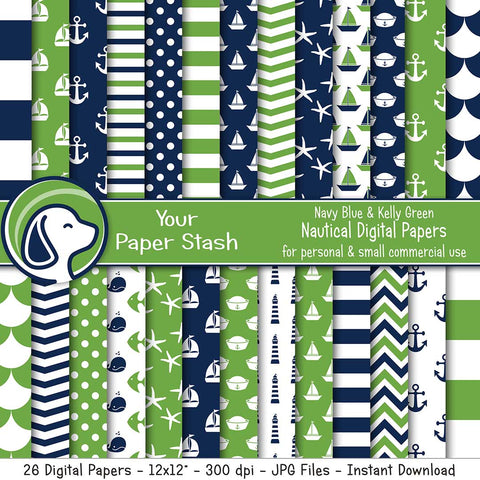 nautical digital scrapbook paper pack navy blue kelly green sailboat anchor chevron stripe ppolka dot lighthouse whale fish digital backgrounds instant download commercial use your paper stash yourpaperstash