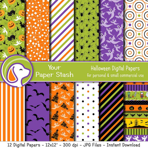 kids halloween digital scrapbook paper backgrounds ghost pumpkin haunted house bats trick or treat collage sheets backgrounds spiders