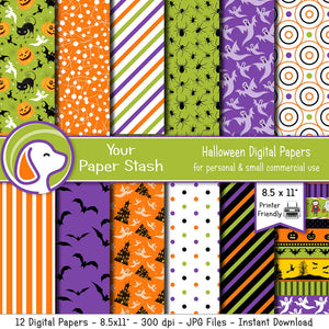 kids halloween pumpkin black cat spiders ghost digital scrapbook paper background polka dot bats printable