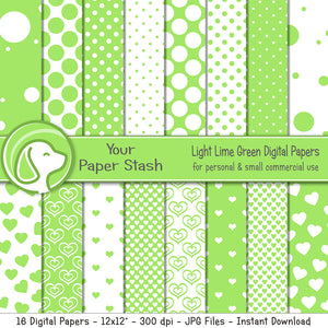 Lime Green and Polka Dot Digital Scrapbook Paper Patterns, Lime Summer Scrapbooking Pages, Bright Digital Papers