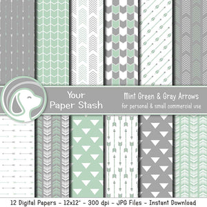 Mint Green and Gray Arrow Digital Papers for Baby Shower and Birthday Scrapbook Pages, Tribal Digital Papers for Digital Scrapbooking