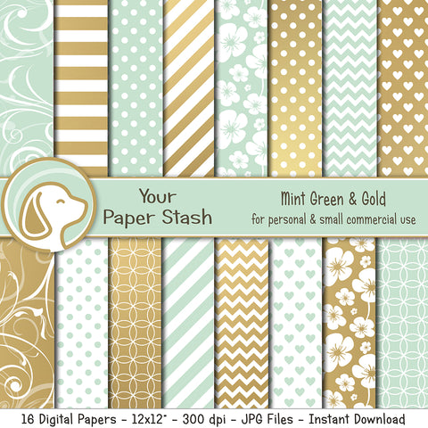 Elegant Mint Green and Gold Digital Papers for Weddings and Bridal Showers