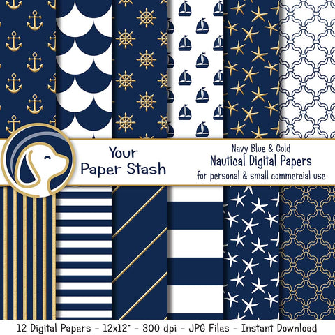 navy blue gold nautical digital scrapbook scrapbooking papers backgrounds anchors starfish helm stripes fish scale quatrefoil naval retirement baby shower backgrounds instant download