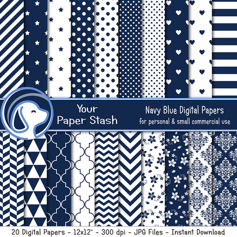 Navy Blue Digital Paper Pack w/  Stars Stripes Polka Dot and Chevron Patterns, Damask Backgrounds, Commercial Use Paper