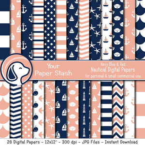 Navy Blue & Peach Nautical Digital Scrapbook Papers & Patterns, Nauical Backgrounds for Birthday Baby Shower and Gender Reveal Parties and Scrapbook Pages