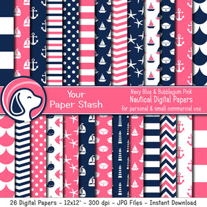 nautical digital scrapbook papers backgrounds sailboats starfish pink blue baby shower bubblegum pink it's a girl anchors aweigh a little girl is on the way