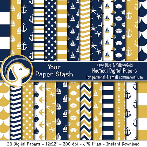 Navy Blue & Gold Nautical Digital Paper Pack for Scrapbook Pages, Nautical Themed Digital Backgrounds and Patterns