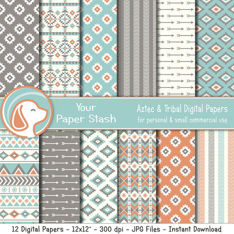 Neutral Aztec Digital Scrapbook Papers & Backgrounds, Tribal Patterns and Southwest Digital Backgrounds