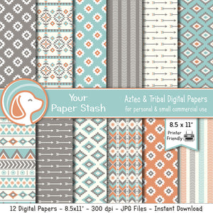 Printable Aztec Digital Scrapbook Papers and Backgrounds