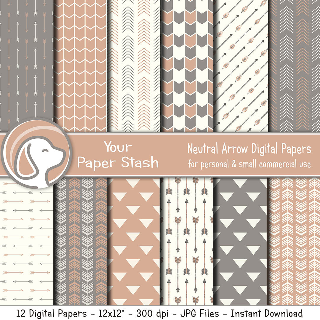 Terracotta Tribal Arrow Digital Scrapbook Paper
