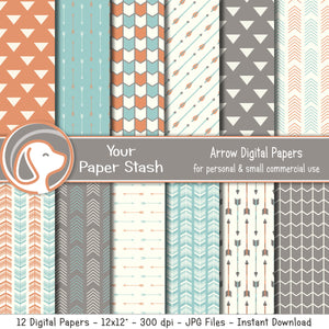 Tribal &  Arrow Digital Scrapbook Papers & Backgrounds, Neutral Arrow Digital Papers