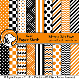 Orange and Black Digital Scrapbook Papers w/ Geometric Patterns