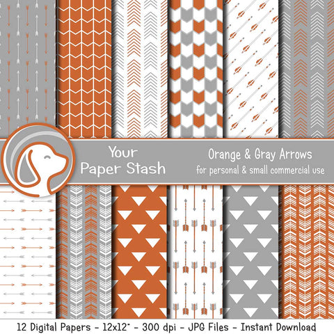 Orange and Gray Arrow Digital Scrapbook Papers for Graduation Scrapbook Pages, Orange Tribal Digital Background Patterns, Instant Download