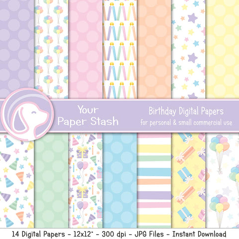 Birthday Digital Scrapbook Papers & Backgrounds, Pastel 1st Birthday Digital Backgrounds
