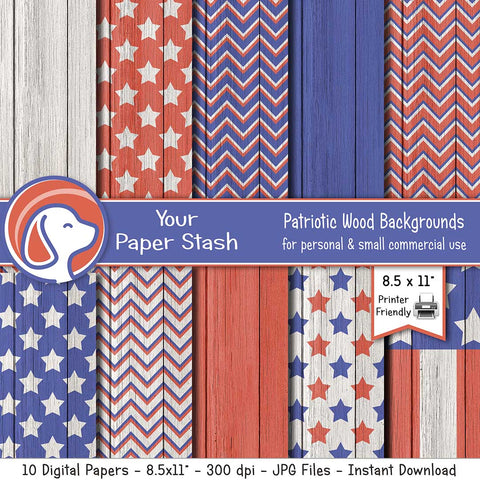 "8.5x11"" Patriotic Digital Papers with Wood Textured Backgrounds"