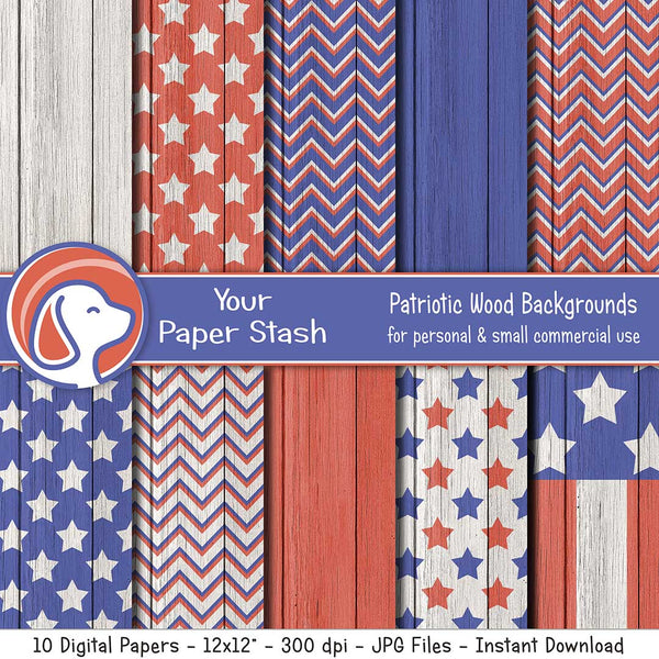 Patriotic Digital Paper Pack With Wood Textured Backgrounds, Red White Blue Stars and Stripes Digital Papers