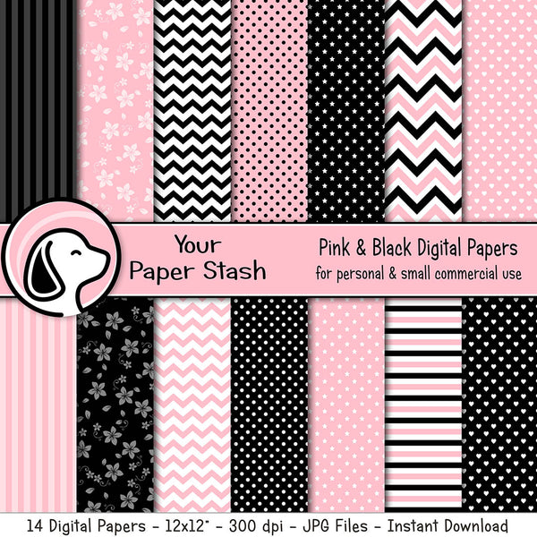 Pink and Black Polka Dot Chevron Stripe and Floral Digital Paper Pack, Valentine's Day Scrapbook Papers