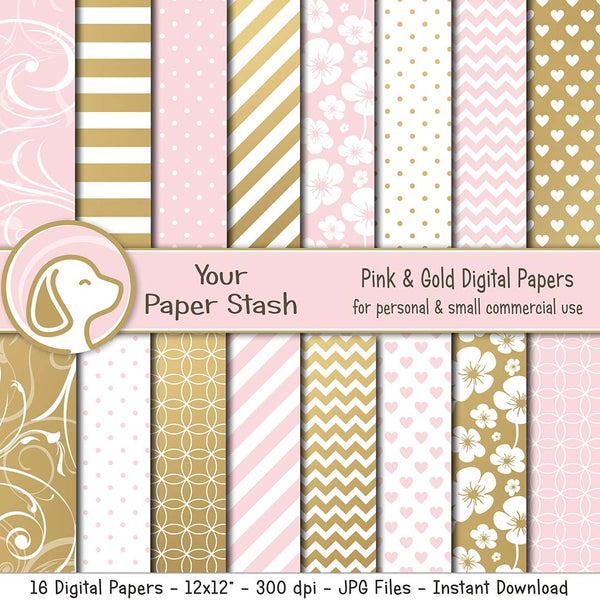 Pink Blush and Gold Digital Papers and Backgrounds