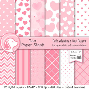 pink heart valentines day digital scrapbook paper pack download