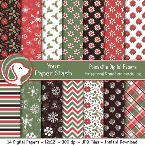 Christmas Poinsettia Digital Scrapbook Papers & Backgrounds