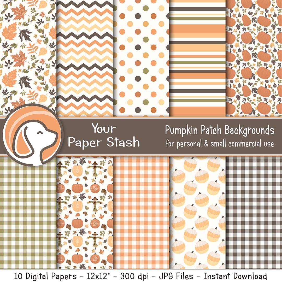 Pumpkin Digital Scrapbook Papers for Thanksgiving & Halloween