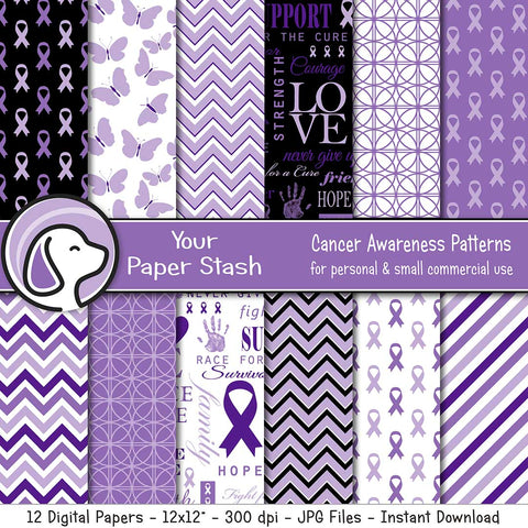 Purple Cancer Awareness Digital Papers & Backgrounds, Purple Ribbon Scrapbook Paper, Cancer Awareness Campaign Backgrounds