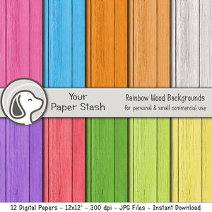 Rainbow Wood Textured Digital Paper Pack, Wood Backgrounds, Spring Digital Pack