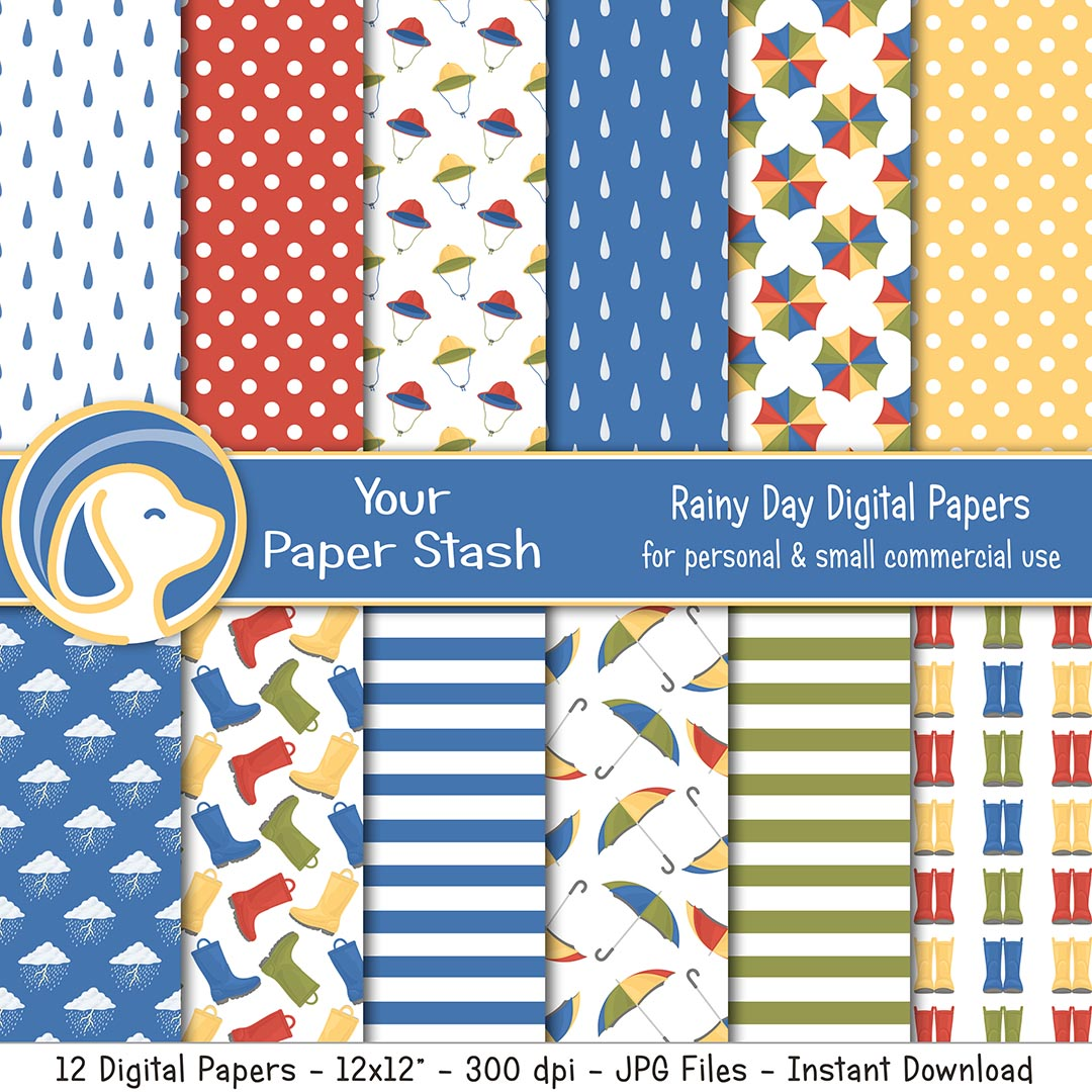 Rainy Day Digital Scrapbook Papers with Raindrops Rain Boots & Umbrella Patterns, April Showers Rainbow Digital Paper Pack