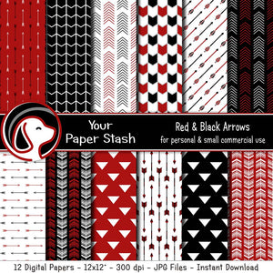 Red and Black Arrow Digital Papers for Graduation Scrapbook Pages, Gothic Digital Scrapbooking Papers