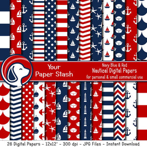 nautical digital scrapbook scrapbooking paper pack sailboat andhor lighthouse sailor hat fish scale whale fish chevron red white blue backgrounds instant download