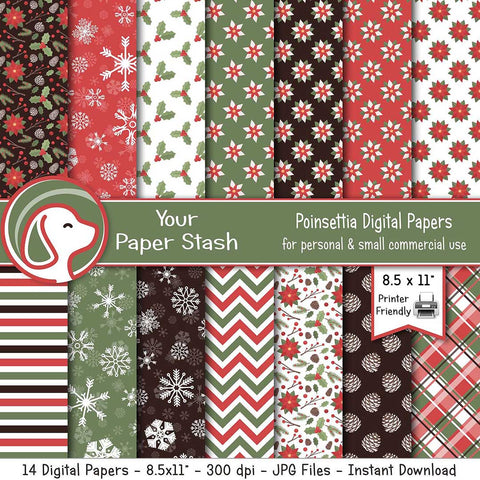 "8.5x11"" Poinsettia Christmas Digital Scrapbook Papers"