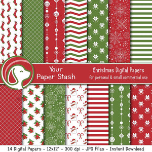 Red & Green Christmas & Holiday Digital Scrapbook Paper Pack