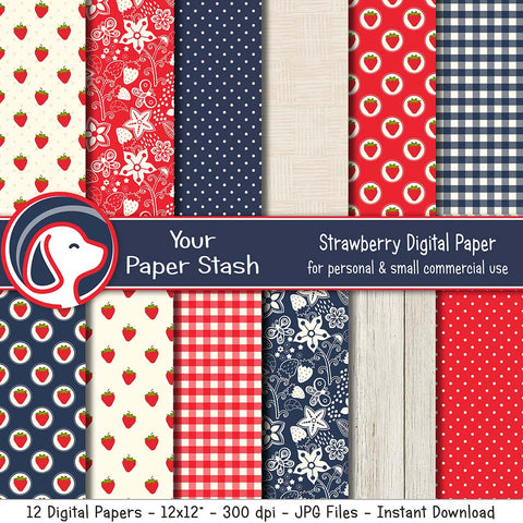 Strawberry Digital Papers and Backgrounds for Summer Scrapbook Pages, Strawberry Scrapbooking Papers with Gingham Polka Dot & Wood Textured Patterns