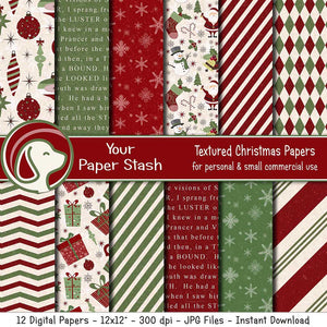 Textured Christmas Digital Scrapbook Papers In Green & Red