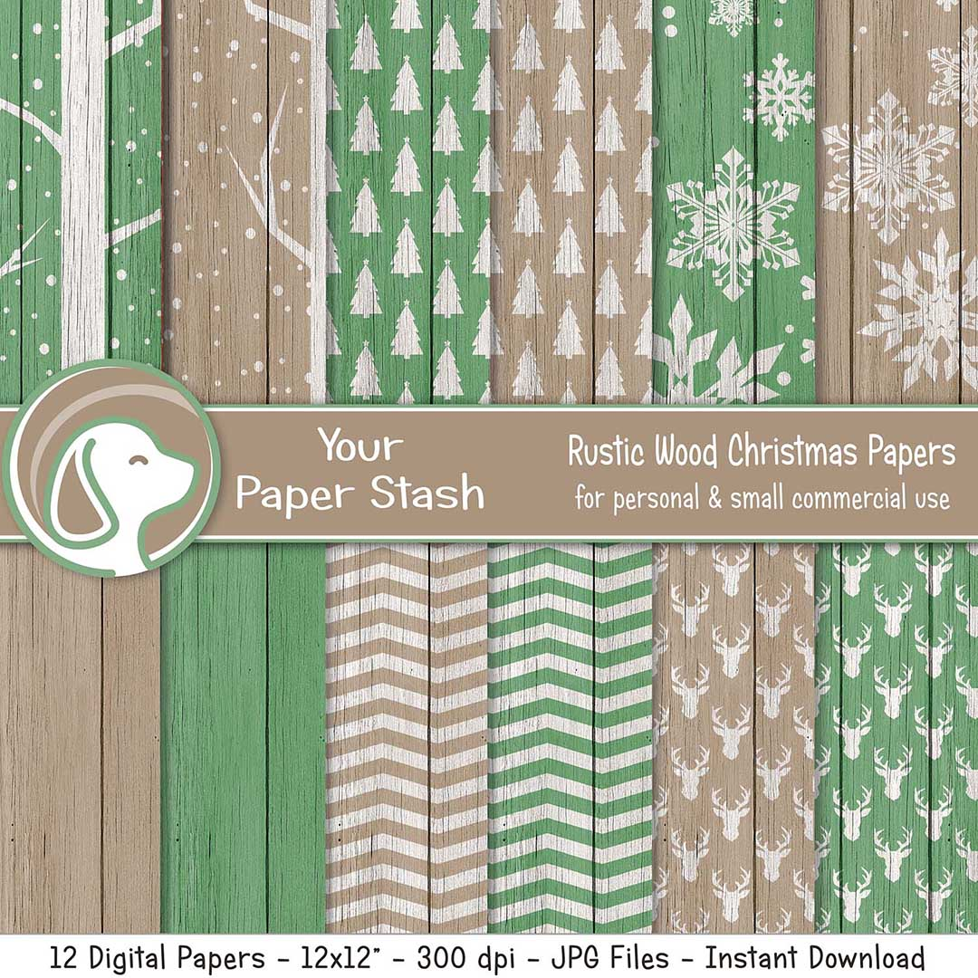 Rustic Wood Christmas Digital Papers & Backgrounds
