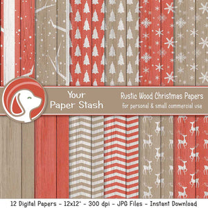 Rustic Holiday Wood Digital Scrapbook Papers