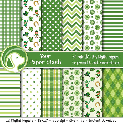 St. Patrick's Day Digital Scrapbook Papers and Backgrounds, Lucky Leprechaun and 4 Leaf Clover St. Paddy's Day Scrapbook Paper Patterns